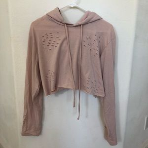 Tops - Cropped light pink tattered hoodie